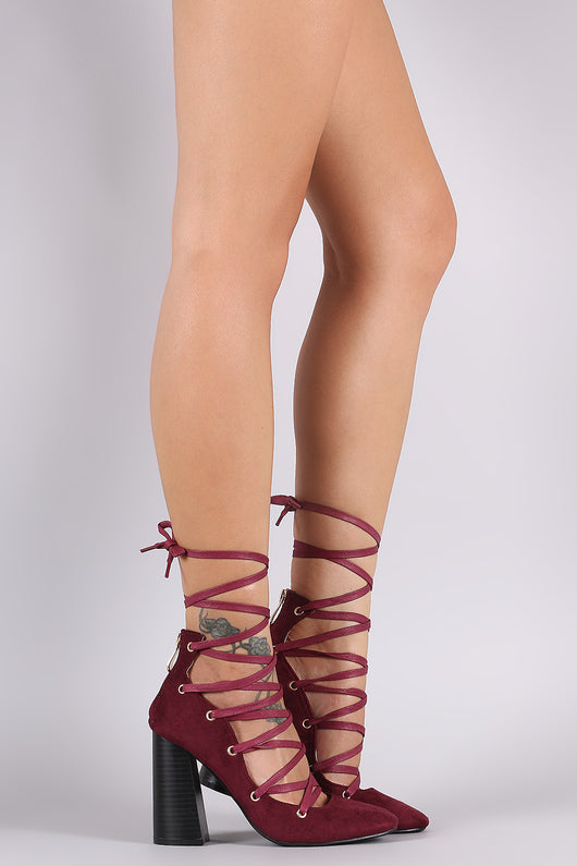 Suede Lace-Up Chunky Heeled Pump