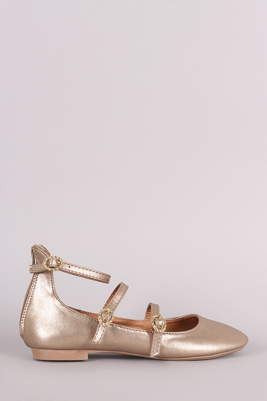 Qupid Metallic Triple Straps Mary Jane Ballet Flat