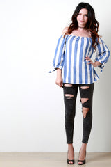 Stripes Off The Shoulder Bow Cuffed Sleeves Top