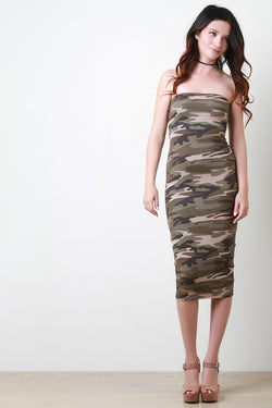 Camouflage Strapless Bodycon Midi Dress
