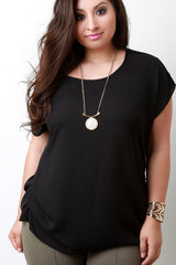 Solid Woven Button Accent Shoulder Dolman Top