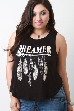 Dreamer Feathers Print Relaxed Sleeveless Tee