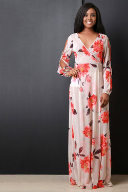 Floral Printed Mesh Open Longsleeves Maxi Dress