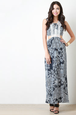 Crochet Lace Side Cutout Maxi Dress