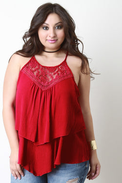 Crochet Lace Layered Trapeze Top