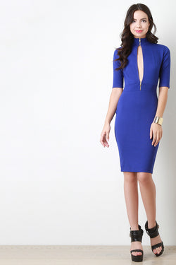 Keyhole Mock Neck Midi Dress
