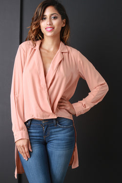 Overlap V-Neck High Low Shirt