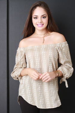 Off The Shoulder Flower Stripe Peasant Blouse