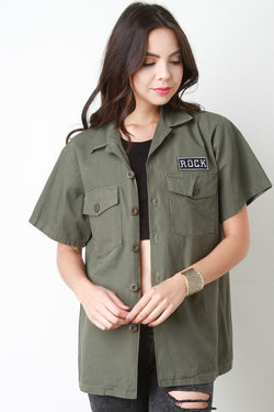 Rock Patch Button-Up Mechanic Top