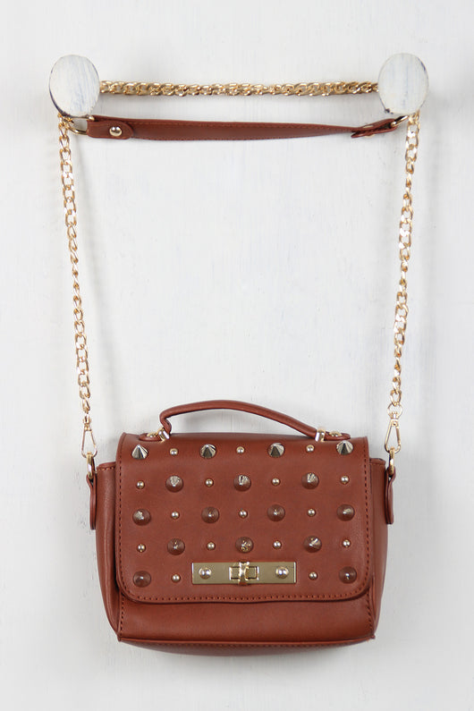 Dangerously Chic Spiked Cross Body Mini Bag
