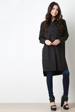 Classic Button-Up Longsleeve Longline Shirt