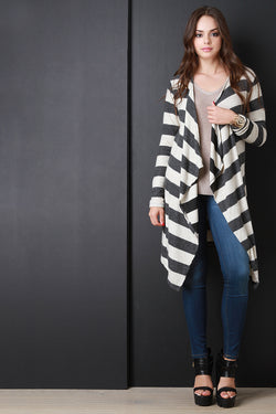 Fuzzy Knit Long Asymmetrical Hem Cardigan