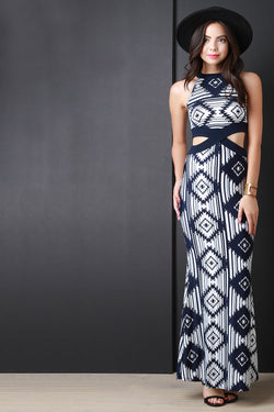 Cut Out Geo Sleeveless Maxi Dress