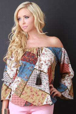 Patchwork Print Off The Shoulder Peasant Blouse