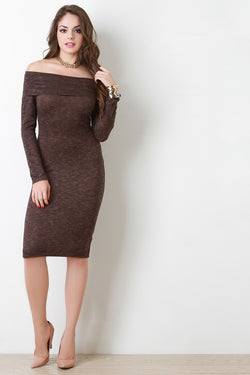 Marled Knit Fold Over Off The Shoulder Midi Dress