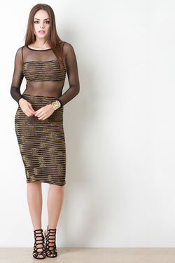 Metallic Mesh Midi Bodycon Dress