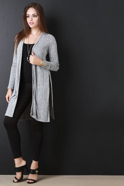 Heather Knit Side Slits Long Cardigan