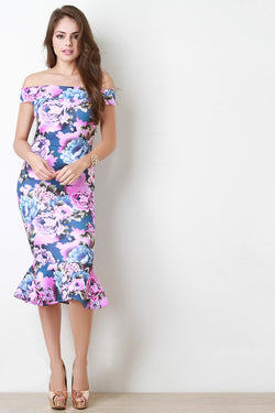 Blossom Print Wide Band Off The Shoulder Midi Dress