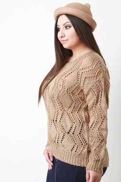 Cutout Cable Knit Sweater