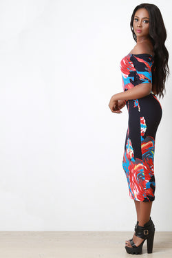 Abstract Flower Bardot Maxi Dress