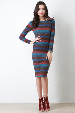Fuzzy Knit Striped Midi Dress