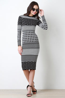 Long Sleeve Mixed Geo Printed Midi Dress