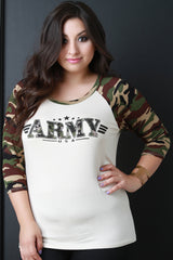 Army Camo Raglan Sleeve Top