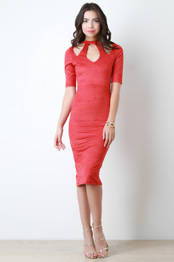 Fitted Vegan Suede Cutout Midi Dress