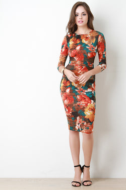 Blossom Print Mesh-Inset Quarter Sleeves Bodycon Midi Dress