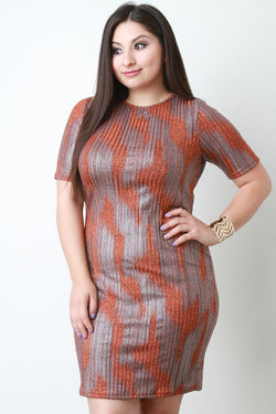 Abstract Pattern Bodycon Midi Dress
