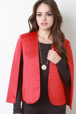 Shiny Satin Open Front Cape Blazer