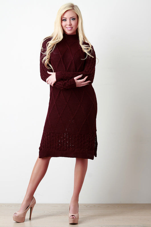 Chunky Cable Knit Mock Neck Sweater Dress