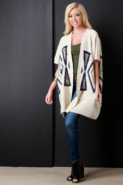 Aztec Detail Loose Knit Poncho Sweater