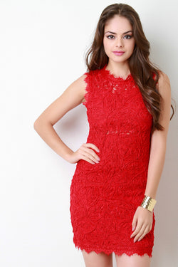 Embroidered Rope and Lace Bodycon Dress