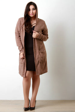 Brushed Loose Knit Hooded Longline Cardigan