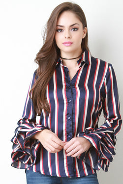 Satin Stripe Ruffle Cuff Top