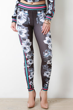 Floral Mirror Print Seam Leggings