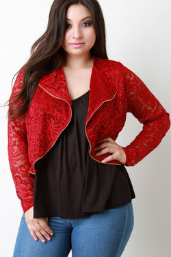 Lace Zipper Trim Cropped Moto Jacket