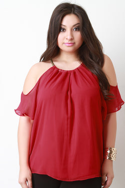 Cold Shoulder Chiffon Necklace Neckline Top