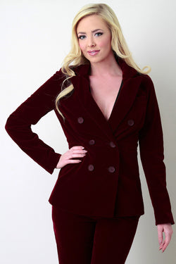 Velvet Double Button Faux Pocket Blazer