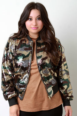 Camo Sequin Rib Knit Trim Bomber Jacket