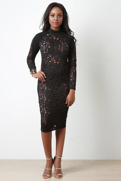 Laser Cut Eyelet Mock Midi Dress