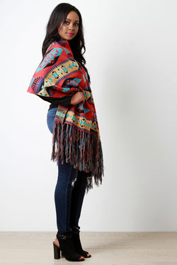 Aztec Button-Up Tassel Fringe Poncho