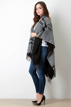 Checkered Open Front Fringe Hem Poncho