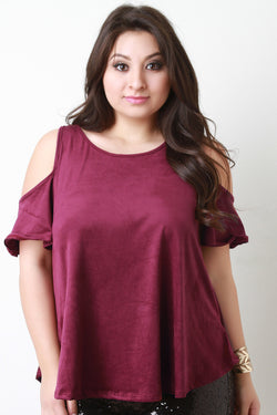 Cold Shoulder Vegan Suede Top
