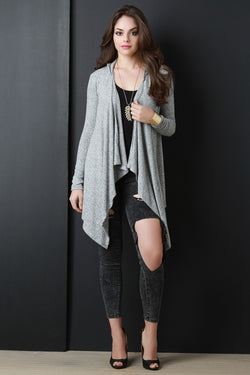 Hooded Draped Long Sleeve Cardigan