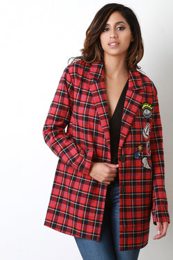 Plaid and Patches Oversized Blazer Jacket