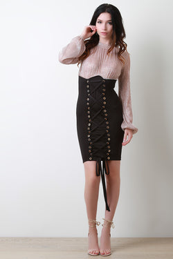 Metallic Knit Corset Combo Dress