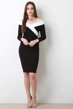 Off The Shoulder Two Tone Midi Dress