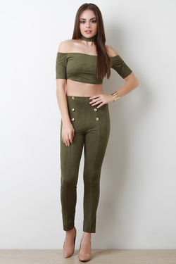 Faux Suede Double Button Pants